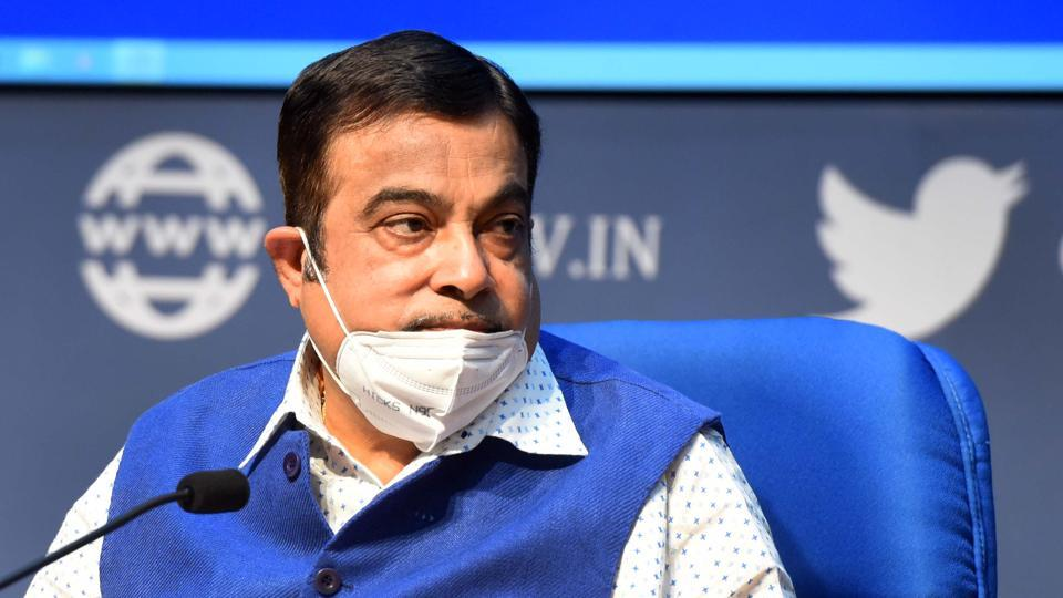 Union minister of road transport and highways Nitin Gadkari during a media briefing in New Delhi.