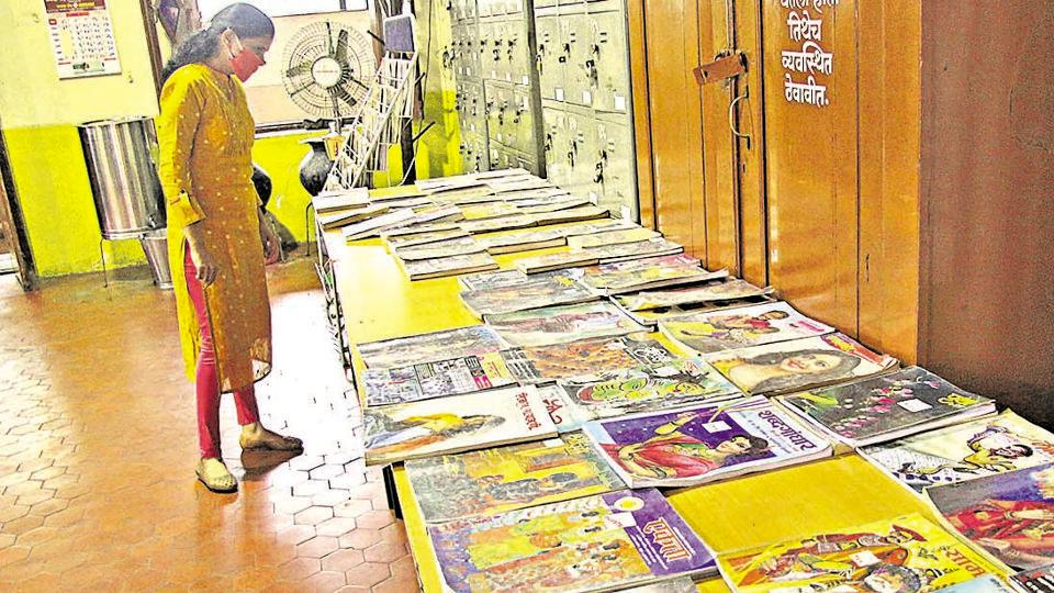Pune Nagar Wachan Mandir, an old library on Laxmi road in Pune, reopened under strict virus prevention protocols.