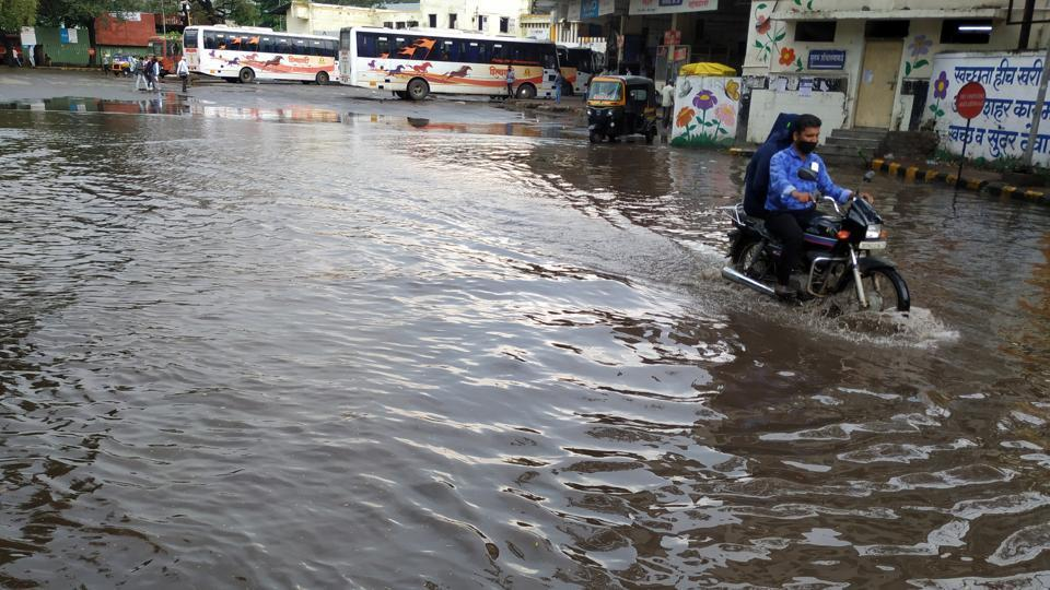 Water logged at Swargate ST stand due to heavy rain in Pune