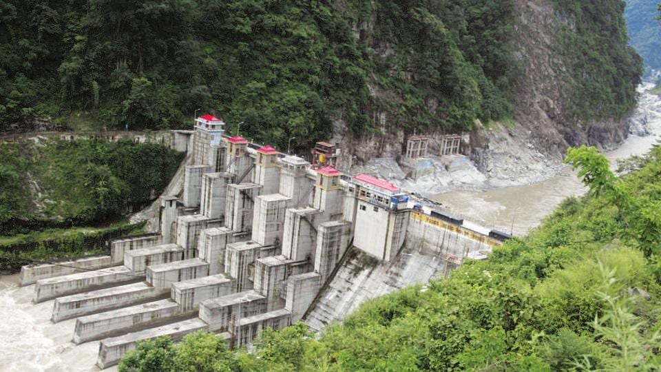 An NHPC hydroelectric project  on river Teesta.