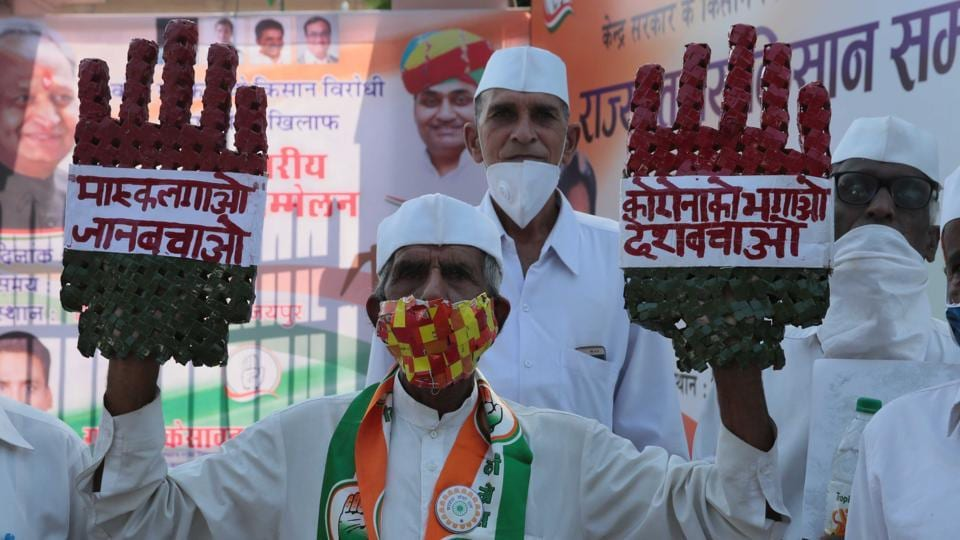 Congress Seva Dal members at a protest against new farm laws,  in Jaipur, Rajasthan on October 10.