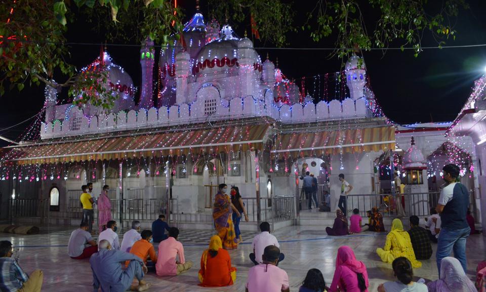 Colourful lights adorn Mansa Devi temple ahead of Navratri in Panchkulai on Thursday.
