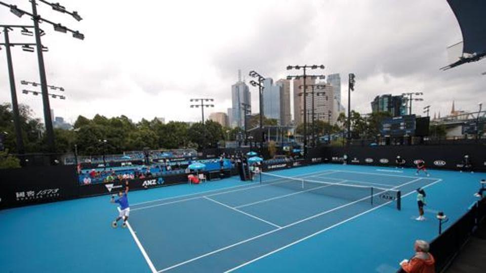 The Australian Open courts.
