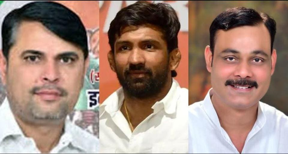 Congress candidate Indu Raj Narwal, BJP's Yogeshwar Dutt and INLD's Joginder Singh Malik are in the fray for the Baroda assembly byelection in Haryana's Sonepat district that goes to the polls on November 3.