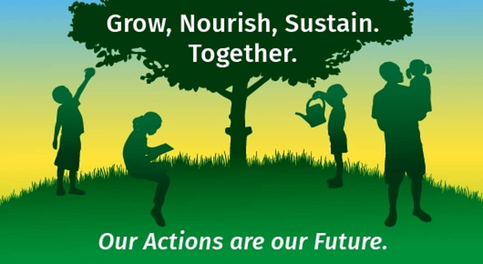 Grow, Nourish, Sustain. Together. Seen in this photo is the Food and Agriculture Organization's poster to mark the World Food Day 2020