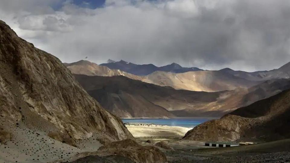 Pangong Tso lake is seen near the India China border in Ladakh area.(AP)