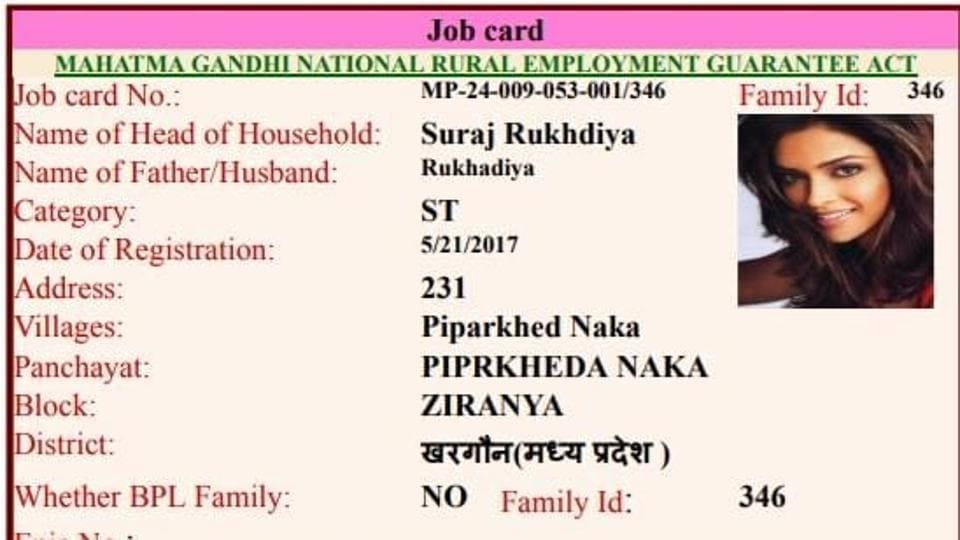 The names and addresses of the beneficiaries are real on about a dozen of job cards but the photographs are of the two actresses.