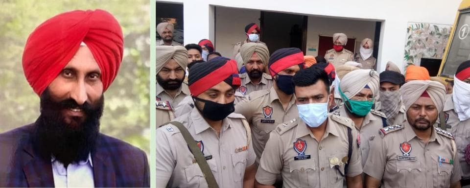 Left leader Balwinder Singh, 55, who was shot dead by two motorcycle-borne men, at Bhikhiwind in Tarn Taran district on Friday morning. (Right) Tarn Taran senior superintendent of police  Dhruman H Nimbale at the crime spot.