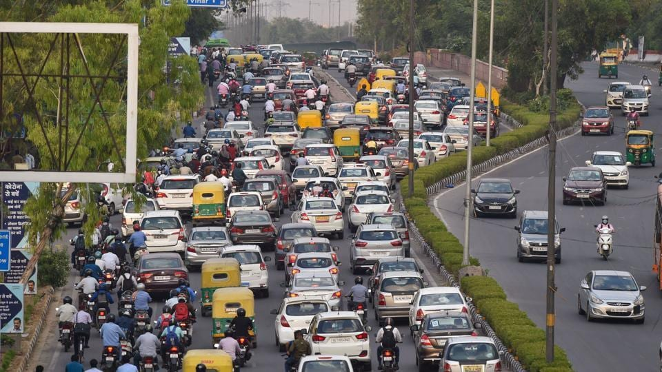 Heavy traffic on Vikas Marg road during the ongoing nationwide Covid-19 lockdown  in New Delhi on May 19, 2020.