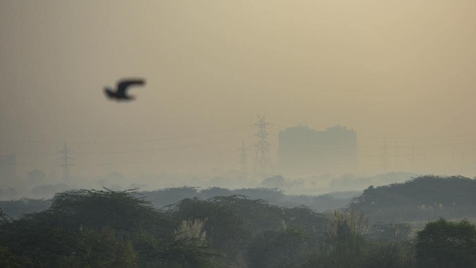 A view of the Noida city skyline engulfed in smog as seen from Mayur Vihar, in New Delhi, India, on Friday, October 16, 2020.