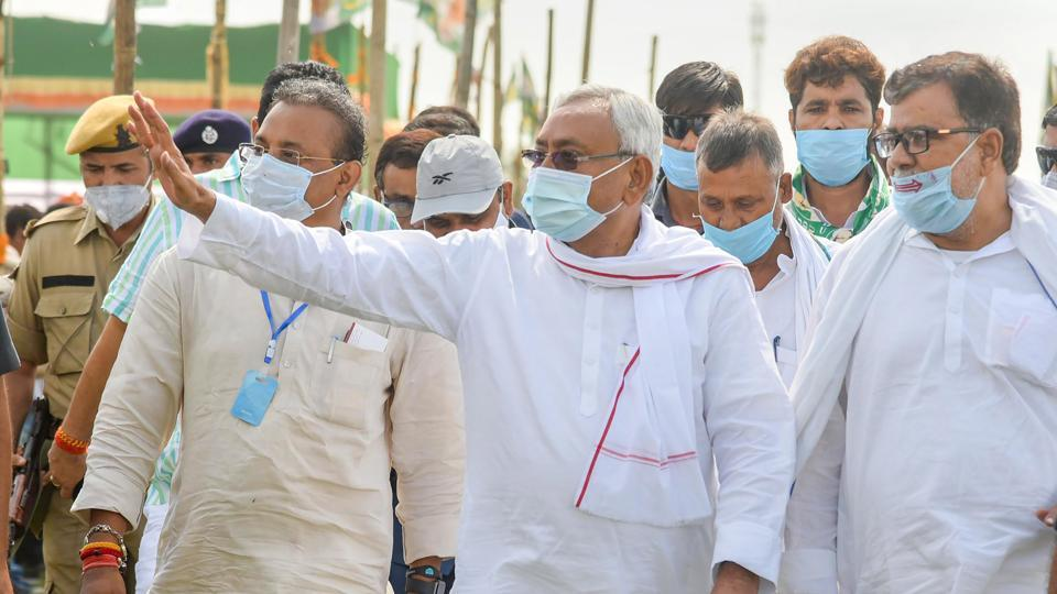 Bihar chief minister Nitish Kumar during an election rally at Belaganj assembly constituency, in Gaya, Bihar on October 16.