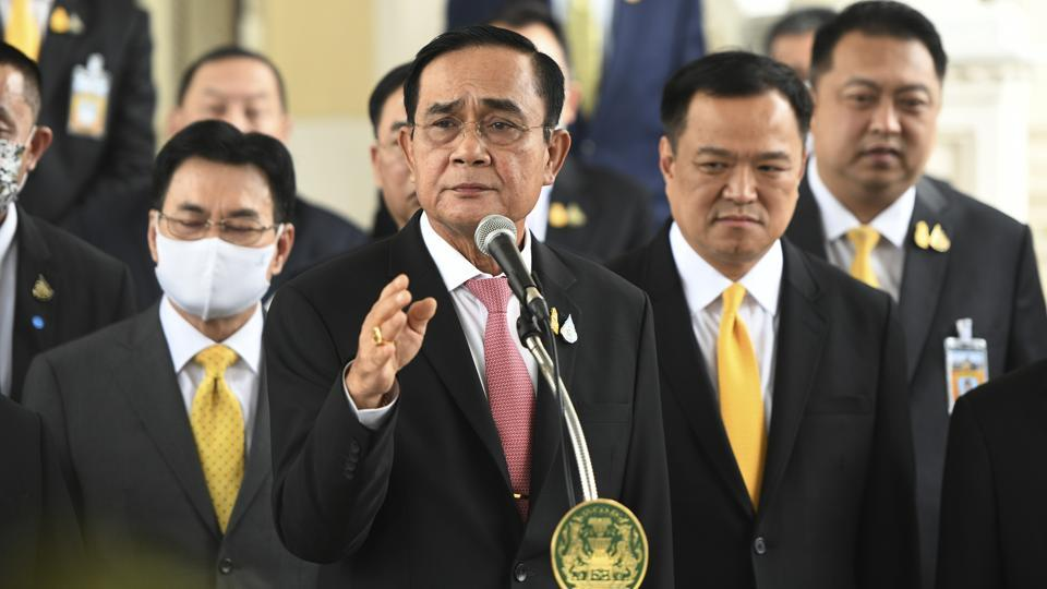 Thailand's Prime Minister Prayuth Chan-ocha speaks to the press after a a special cabinet meeting at the Government House in Bangkok on October 16, 2020.