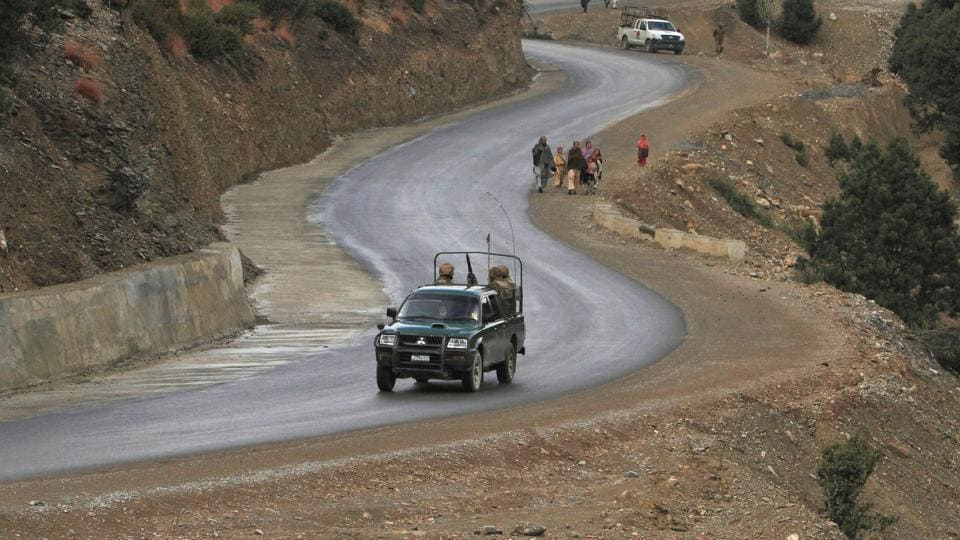A file photo of Pakistani soldiers driving in the restive South Waziristan region near the Afghan border.