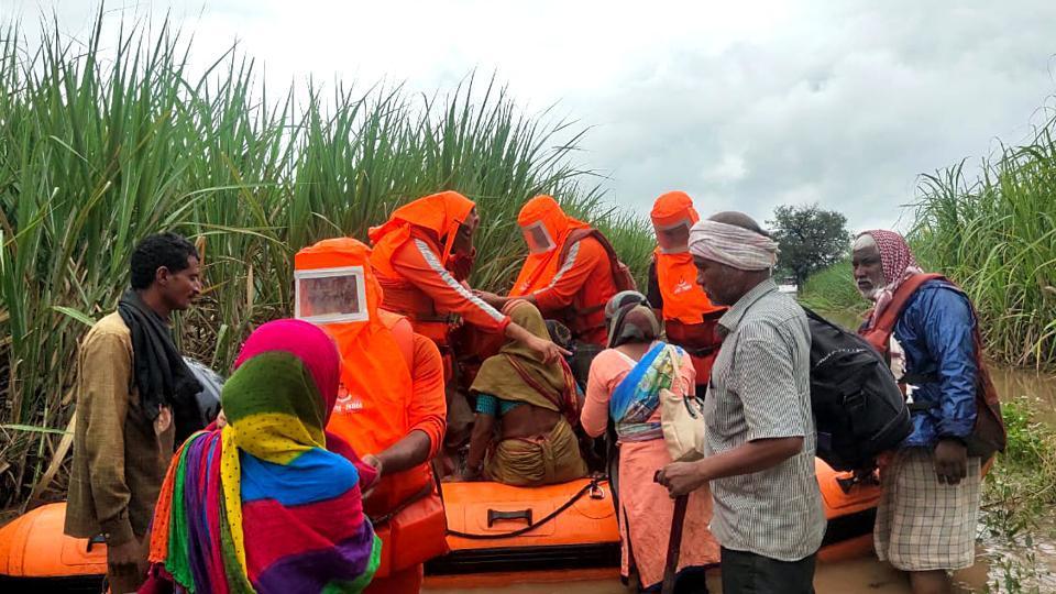 Rescue and evacuation operation by National Disaster Response Force (NDRF) in flood-hit cities of Telangana, Andhra Pradesh, Karnataka, and Maharashtra continues.