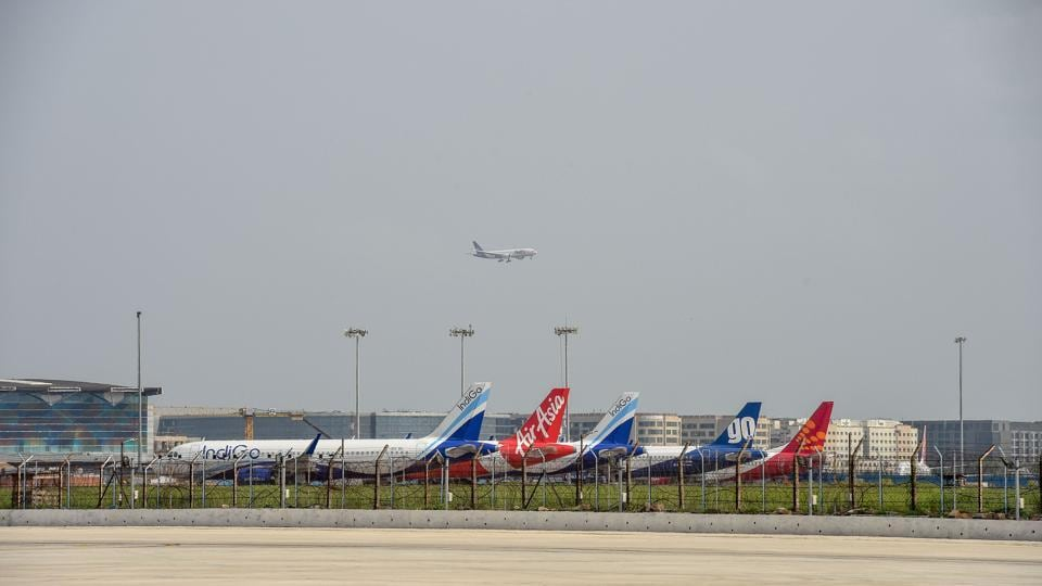 A plane lands at IGI airport during Unlock 2, in New Delhi in July 28.