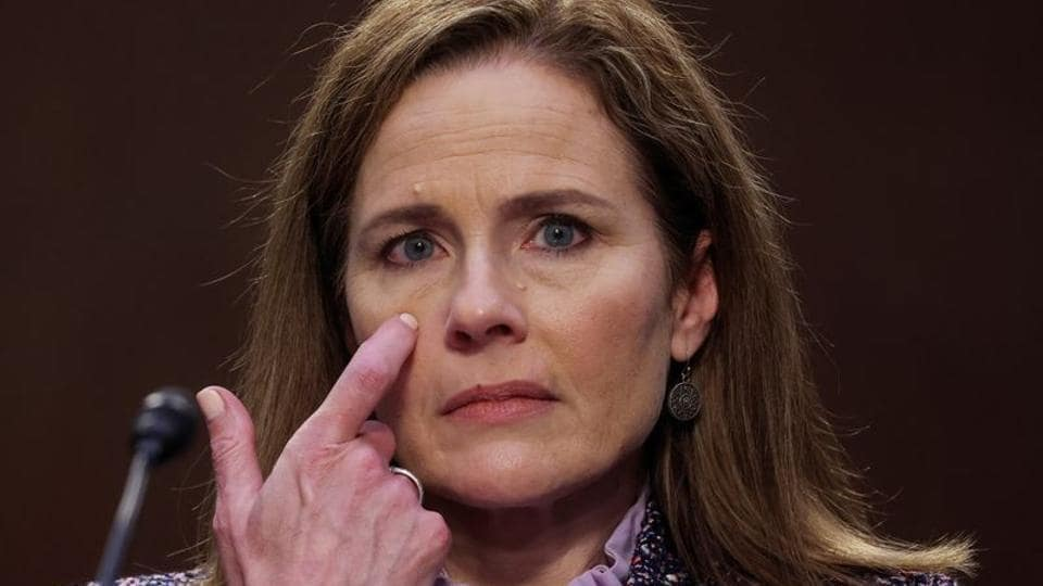 US Supreme Court nominee Judge Amy Coney Barrett pauses while testifying on the third day of her US Senate Judiciary Committee confirmation hearing on Capitol Hill in Washington, US on October 14, 2020.