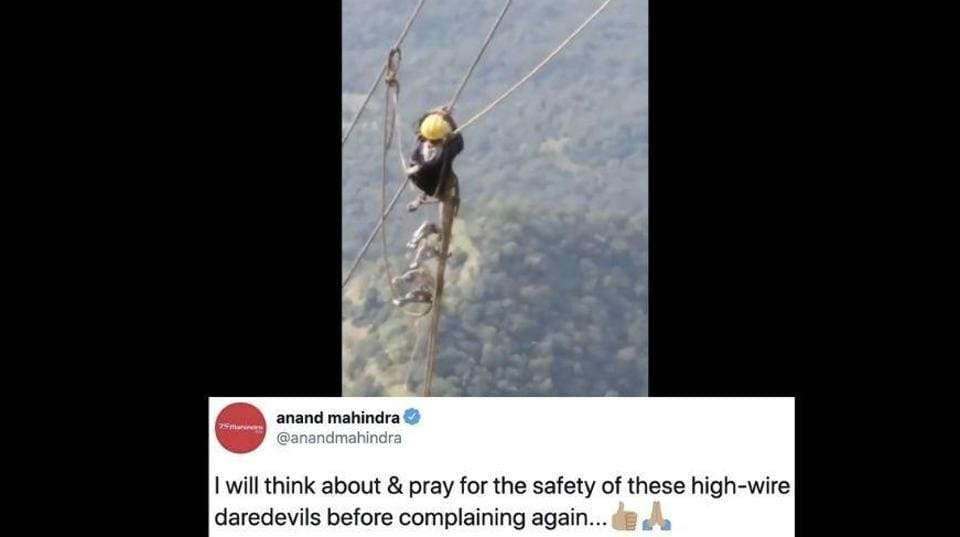 The image shows a still from a video and a tweet by Anand Mahindra.