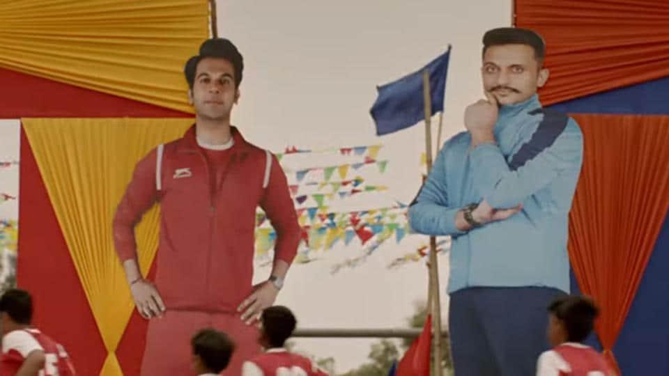 Rajkummar Rao and Mohd Zeeshan Ayyub in a still from the Chhalaang trailer.