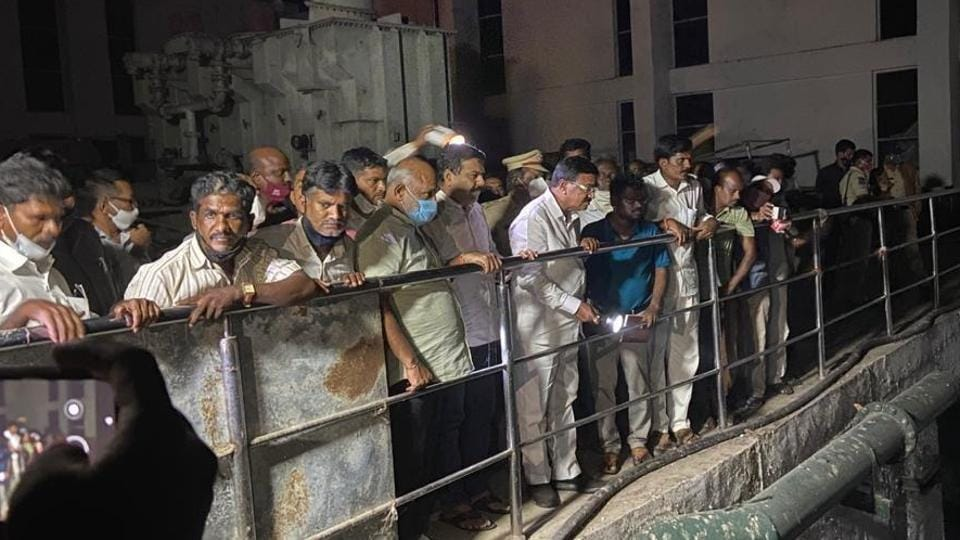 Telangana agriculture minister S Niranjan Reddy inspecting the accident site at Kalwakurthy Lift Irrigation Scheme on Friday night.