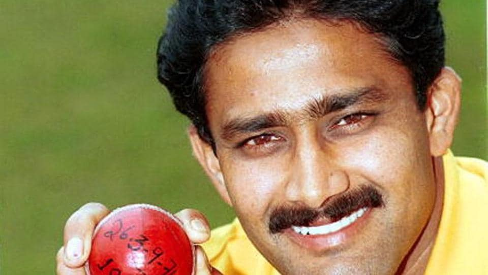 Anil Kumble with the ball that got him his 'Perfect 10'