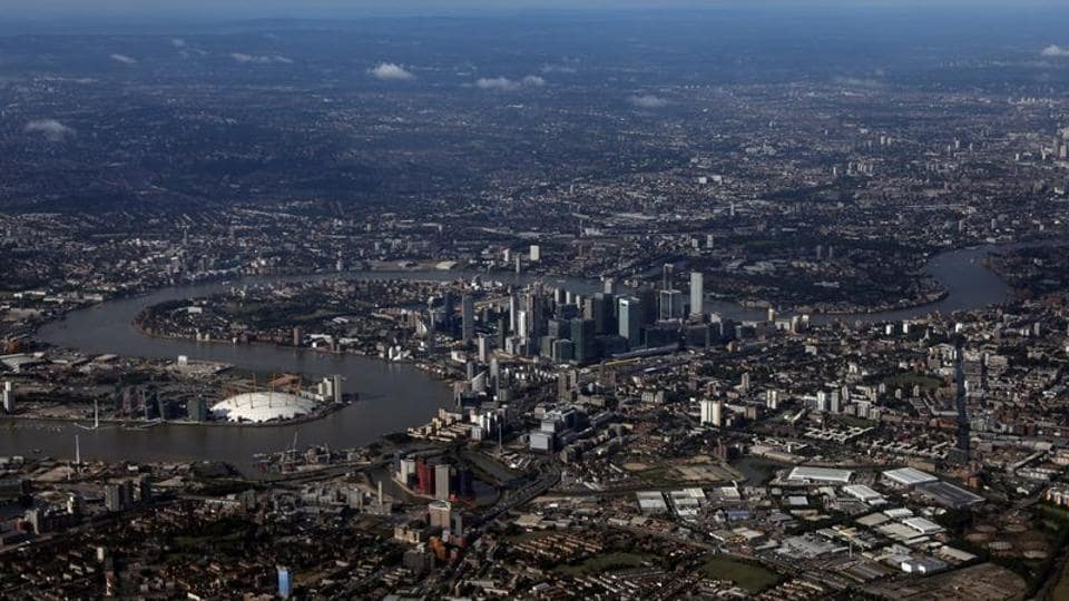 The Canary Wharf financial district is seen from an aerial view in London, Britain.