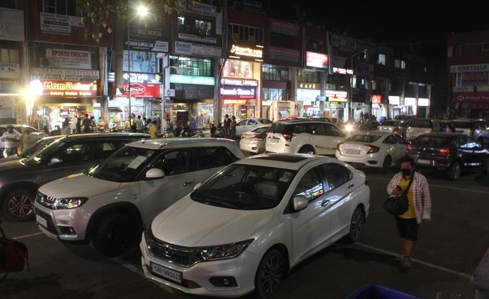 It's back to jampacked parking lot at the market in Sector 46 in Chandigarh on Saturday evening.