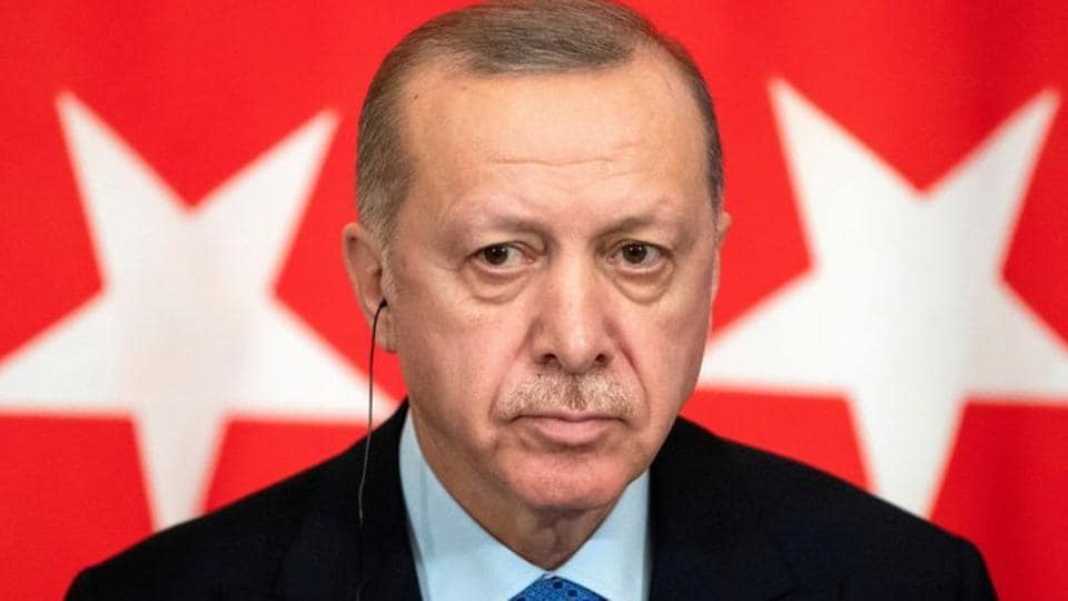 Turkish President Tayyip Erdogan attends a news conference during a visit to Moscow, Russia.