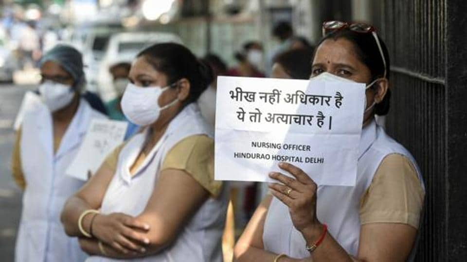 Doctors and health care workers of the north corporation's Hindu Rao and Kasturba hospitals have been protesting against non-payment of salaries for the past several months.