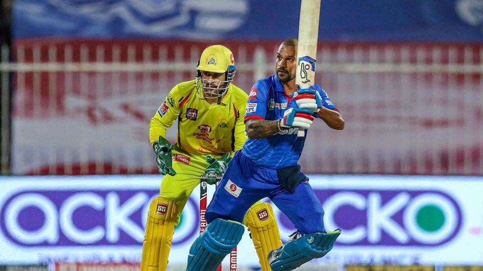Sharjah: Delhi Capitals (DC) player Shikhar Dhawan plays a shot during their Indian Premier League (IPL) T20 cricket match against Chennai Super Kings (CSK), at the Sharjah Cricket Stadium in Sharjah, Saturday, Oct. 17, 2020.