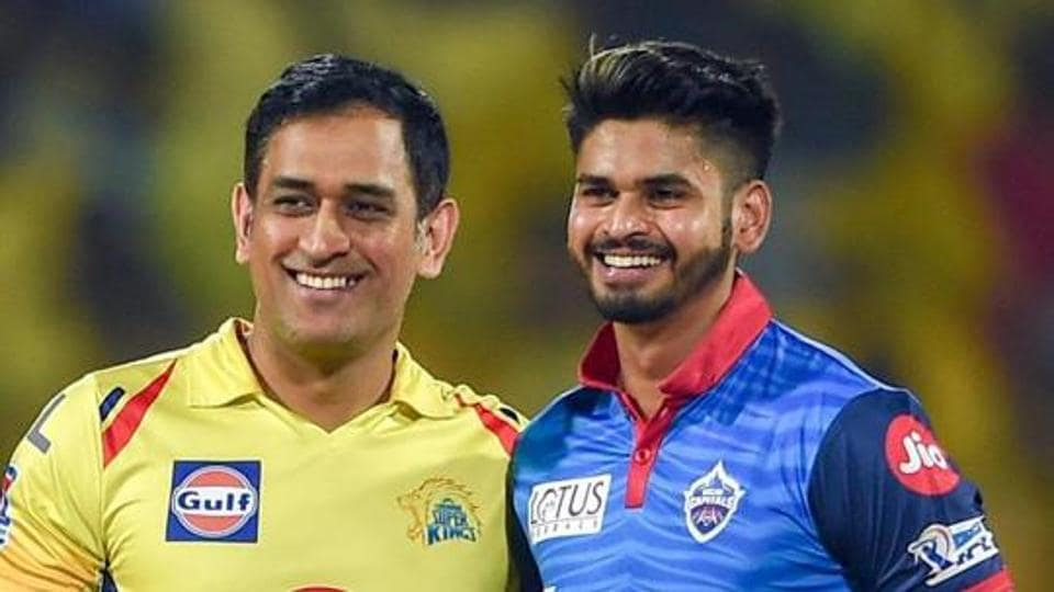 CSK Skipper MS Dhoni with DC's Shreyas Iyer before the Indian Premier League 2019 (IPL T20) cricket match between Delhi Capitals (DC) and Chennai Super Kings (CSK) at MAC Stadium in Chennai.