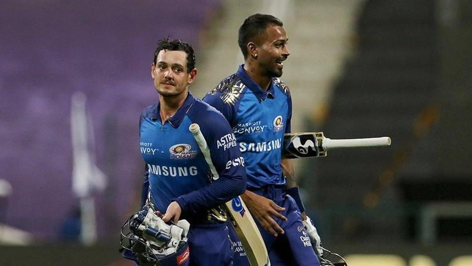 Mumbai Indians (MI) batsmen Quinton de Kock and Hardik Pandya after wining the match against Kolkata Knight Riders during Indian Premier League (IPL), at Sheikh Zayed Stadium in Abu Dhabi.