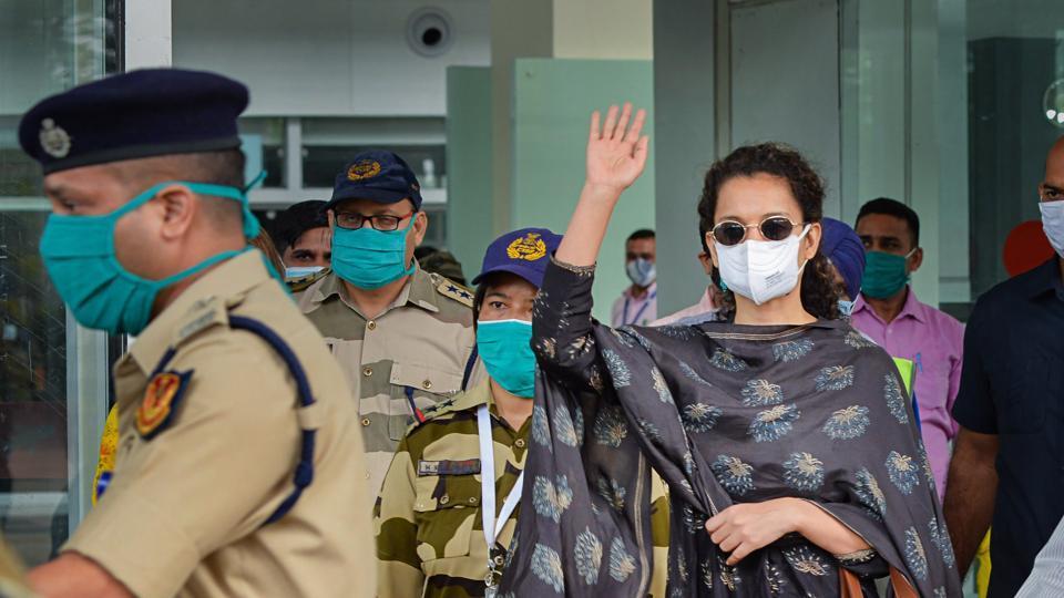 Bollywood actor Kangana Ranaut at the Mohali International Airport in Punjab.