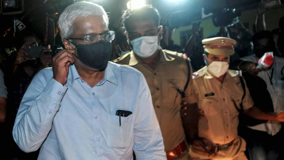 Former principal secretary of Kerala chief minister M Sivasankar leaving NIA office after being questioned by the agency in Kerala gold smuggling case in Kochi on Sept. 24, 2020.