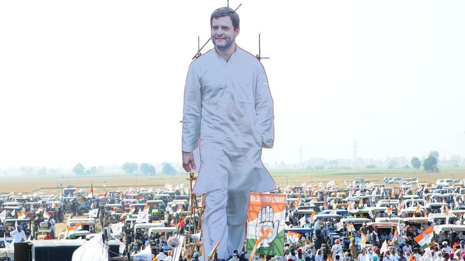 Larger than life cutout of Congress leader Rahul Gandhi displayed during party's 'Kheti Bachao' tractor rally against the farm laws, at Sanaur in Patiala. (Photo by Bharat Bhushan / Hindustan Times)