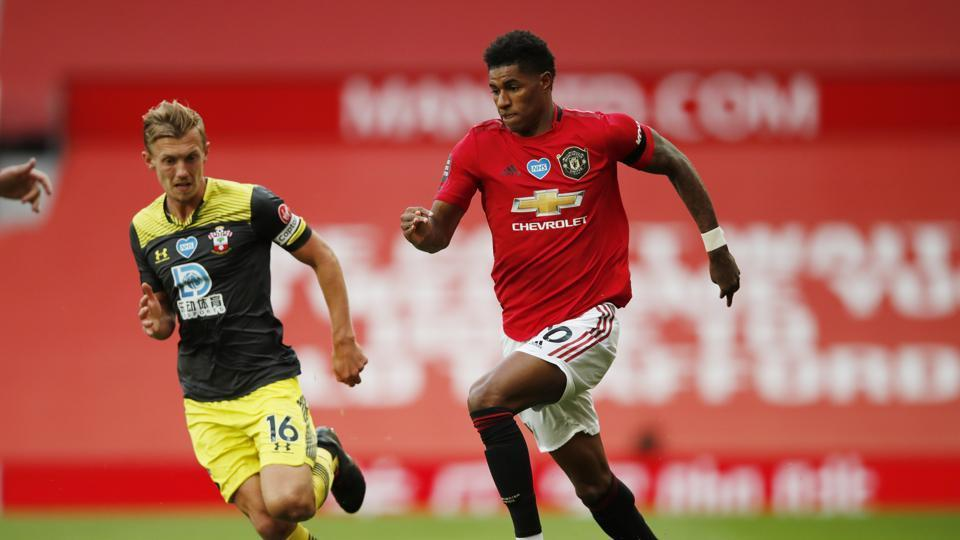 Manchester United's Marcus Rashford in action with Southampton's James Ward-Prowse.