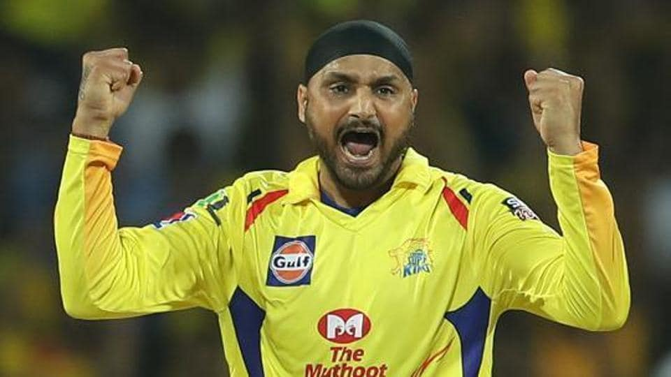 Harbhajan Singh of Chennai Super Kings celebrates the wicket of AB de Villiers of Royal Challengers Bangalore during match 1 of the Vivo Indian Premier League Season 12.