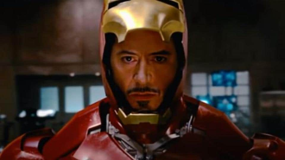 Robert Downey Jr in a still from the first Iron Man movie
