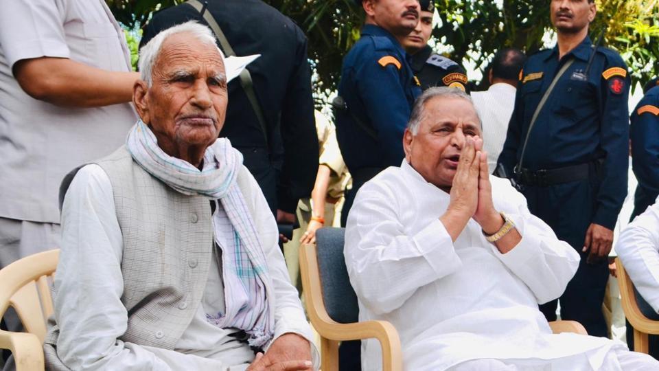 Darshan Singh Yadv, Saifai village pradhan with SP founder president Mulayam Singh Yadav in Saifai.