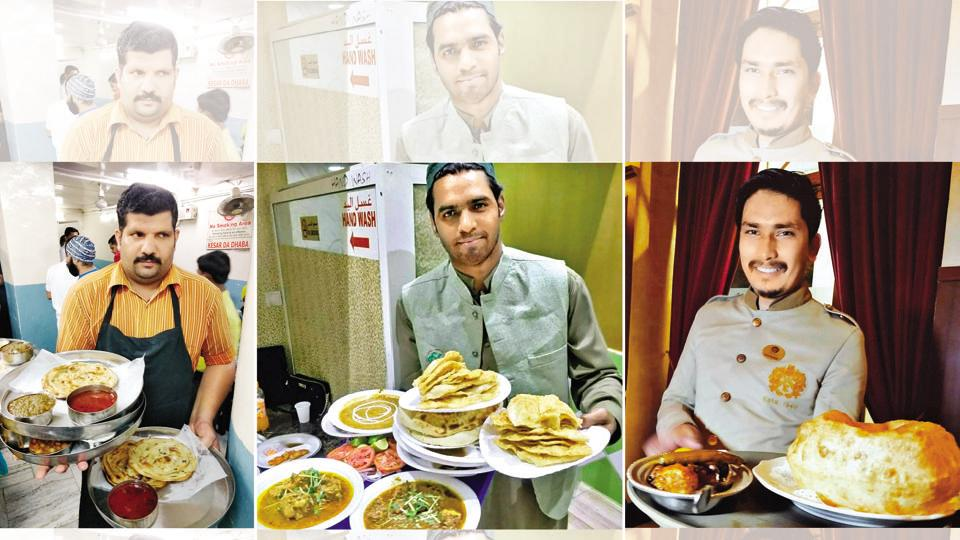 (From left) The servers in Kesar Da Dhaba, Amritsar; Bundoo Khan, Global Village in Dubai and Kwality Restaurant, Delhi