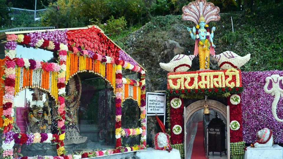 Vaishno Devi shrine is decked up for the Navratri festival.