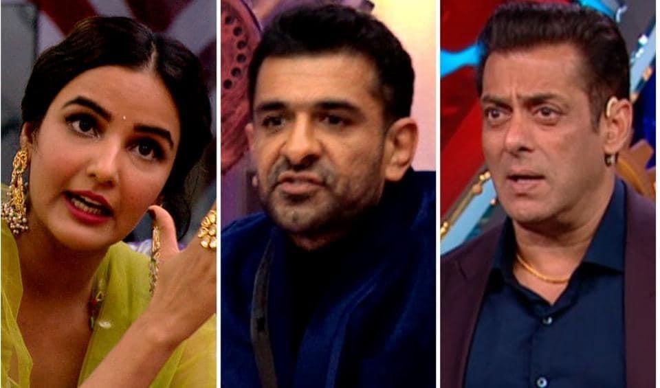 New promos of Bigg Boss 14 Weekend Ka Vaar episode show Jasmin Bhasin accusing Eijaz Khan of intimidation.