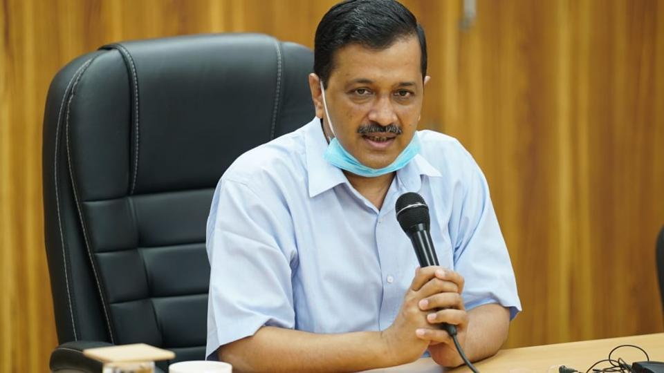 Chief minister Arvind Kejriwal at a press briefing in New Delhi.