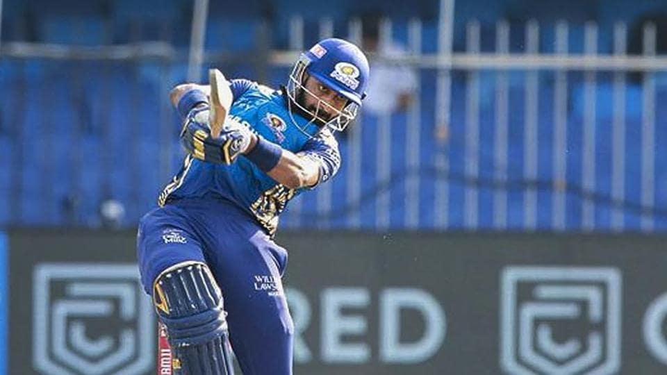 Mumbai Indians player Krunal Pandya plays a shot during IPL 2020 cricket match against Sunrisers Hyderabad.