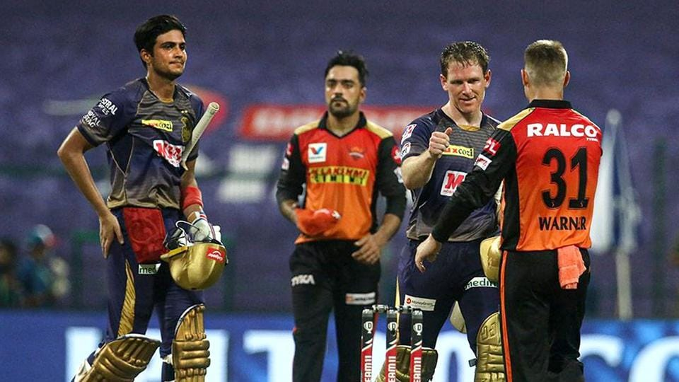 Abu Dhabi: Shubman Gill and Eoin Morgan of Kolkata Knight Riders being greeted by Sunrisers Hyderabad players after their win in Indian Premier League 2020 cricket match at the Sheikh Zayed Stadium, Abu Dhabi.