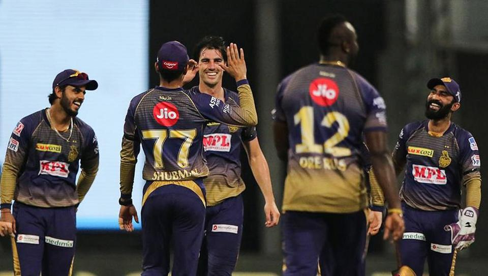 Abu Dhabi: Pat Cummins of Kolkata Knight Riders celebrates the wicket of Jonny Bairstow of Sunrisers Hyderabad during their Indian Premier League 2020 cricket match at the Sheikh Zayed Stadium, Abu Dhabi, Saturday, Sept. 26,2020.