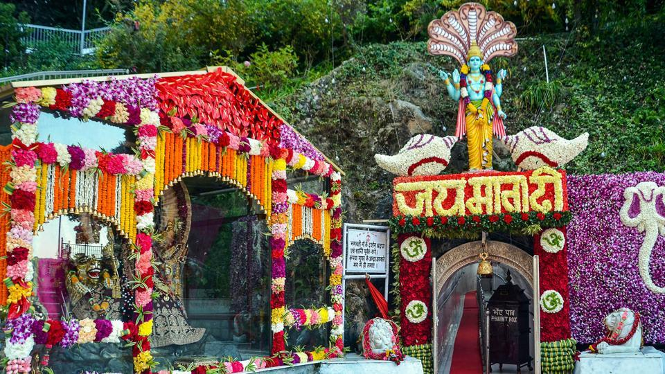 Reasi: Decorated holy cave shrine of Goddess Vaishno Devi on the occasion of Navratri festival, at Katra