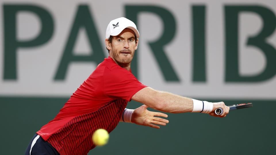 Andy Murray of Great Britain plays a backhand during his Men's Singles first round match against Stan Wawrinka of Switzerland during day one of the 2020 French Open at Roland Garros.