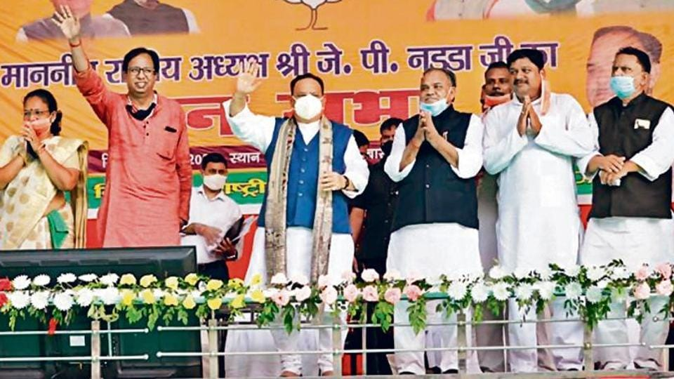 BJP president JP Nadda and other party leaders at a public rally in Bihar on Friday.