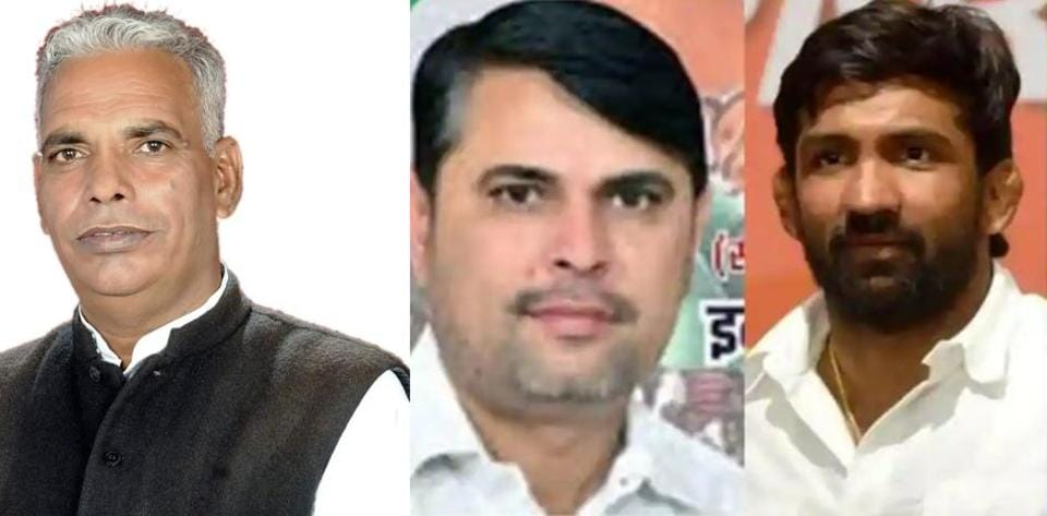 From left: Kapoor Singh Narwal, Congress candidate Indu Raj Narwal and BJP's Yogeshwar Dutt. Kapoor Singh pulled out of the contest for the Baroda byelection on Monday.