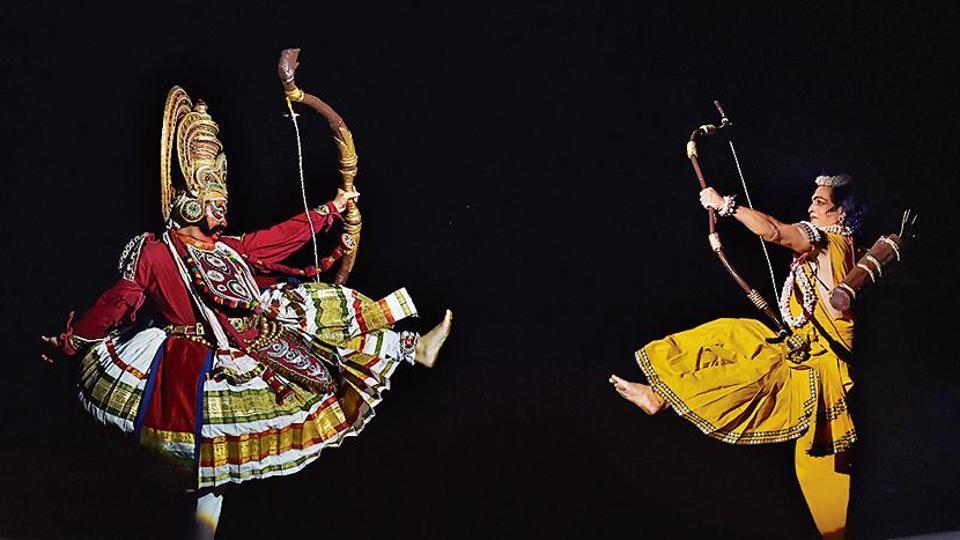 Ram and Ravana face off during the Ramlila at Shriram Bharatiya Kala Kendra.